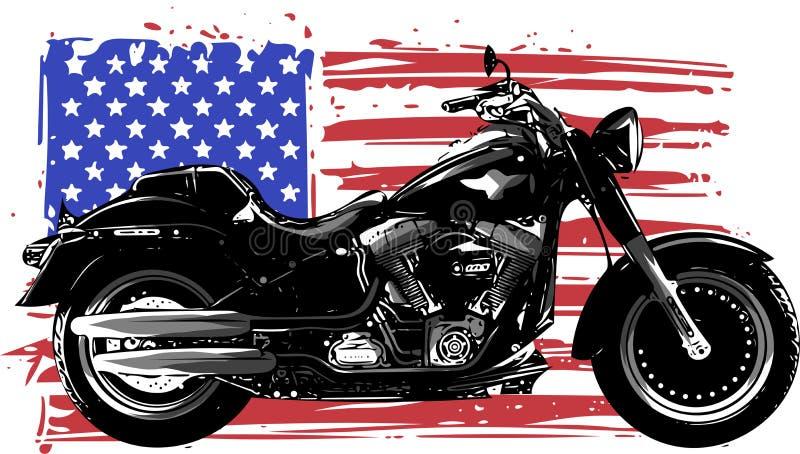 Вручите вычерченный и покрытый краской винтажный американский мотоцикл тяпки с американским флагом иллюстрация вектора