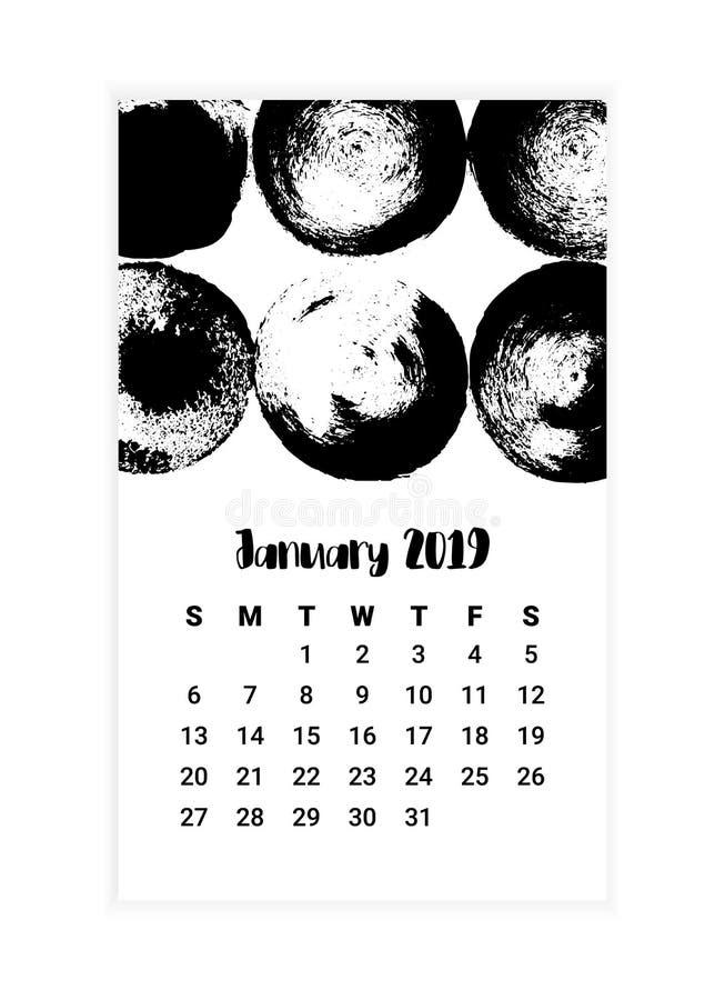 Вручите вычерченный календарь 2019, дизайн концепции месяца в январе также вектор иллюстрации притяжки corel иллюстрация вектора