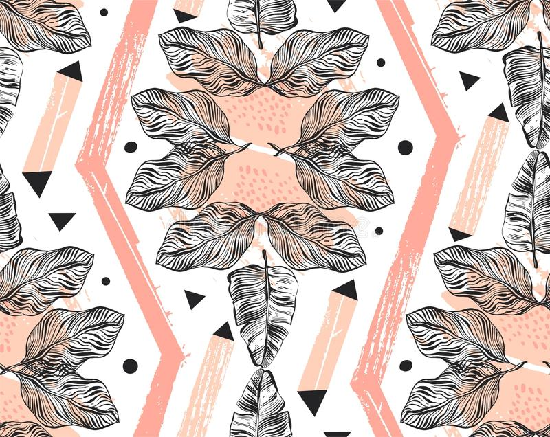 Вручите вычерченный коллаж картины конспекта вектора freehand текстурированный безшовный тропический с геометрической формой, орг иллюстрация вектора