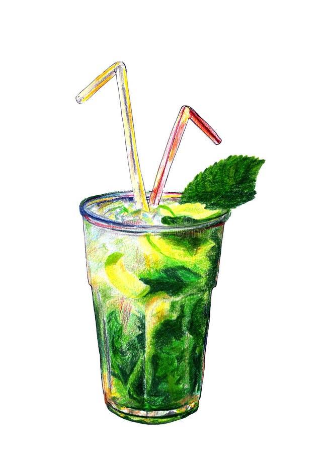 Вручите вычерченный напиток с листьями мяты, cirtus в большой рюмке окруженной кубами льда иллюстрация штока