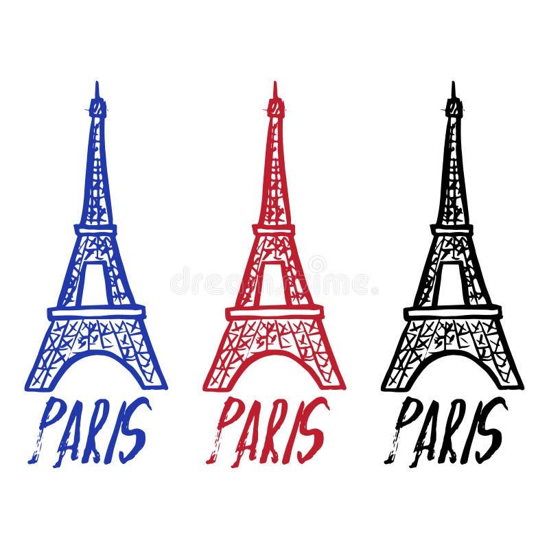 Вручите вычерченный логотип концепции с Эйфелева башней с текстом Парижем иллюстрация вектора