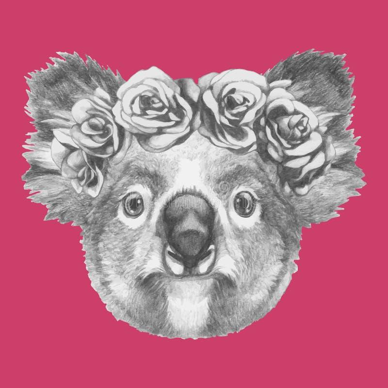 Вручите вычерченный портрет коалы с флористическим головным венком иллюстрация штока