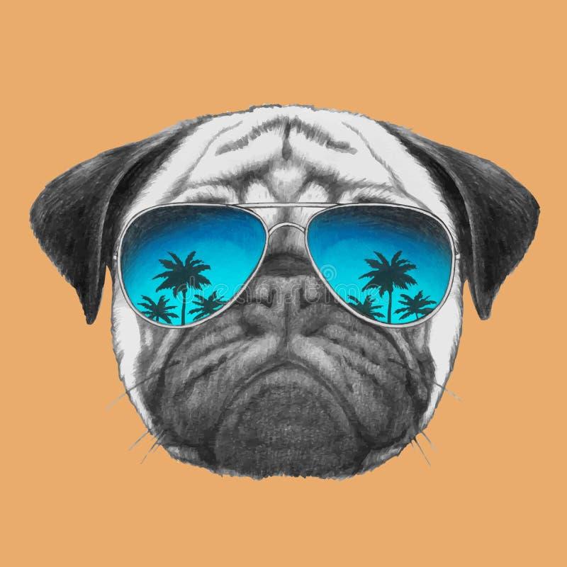 Вручите вычерченный портрет собаки мопса с солнечными очками зеркала иллюстрация штока