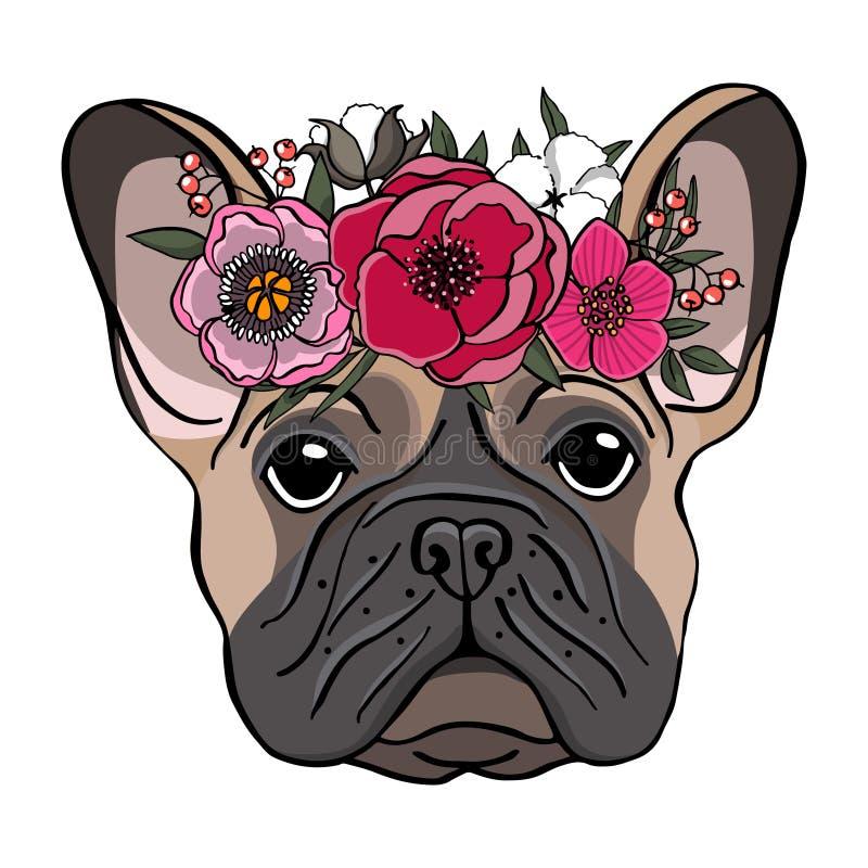 Вручите вычерченный портрет французского бульдога с венком цветков иллюстрация штока