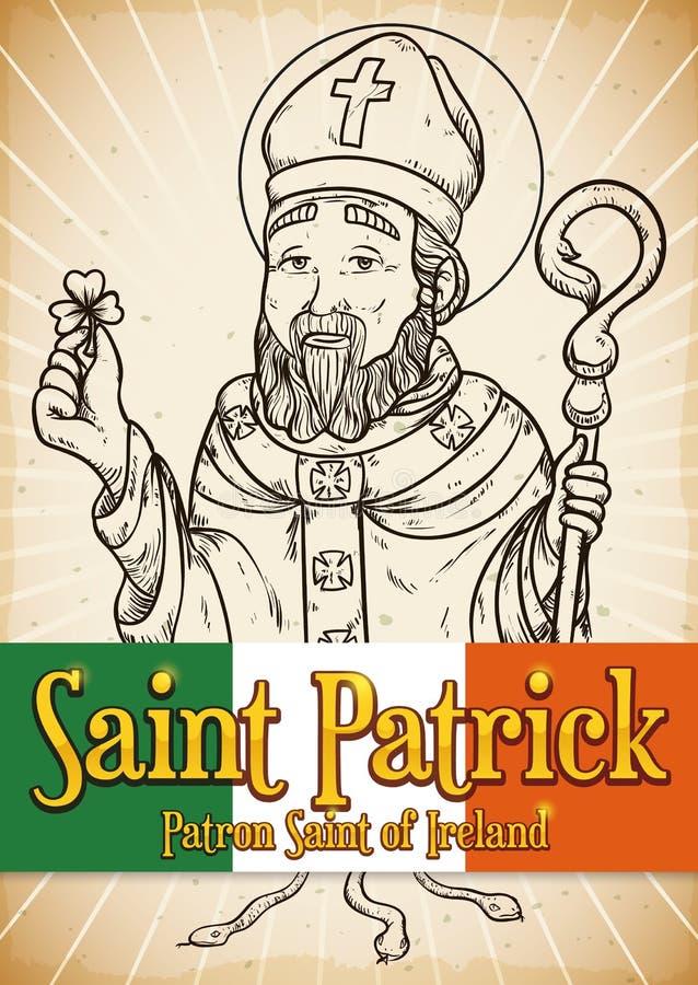 Вручите вычерченный плакат для торжества дня ` s St. Patrick, иллюстрации вектора иллюстрация штока