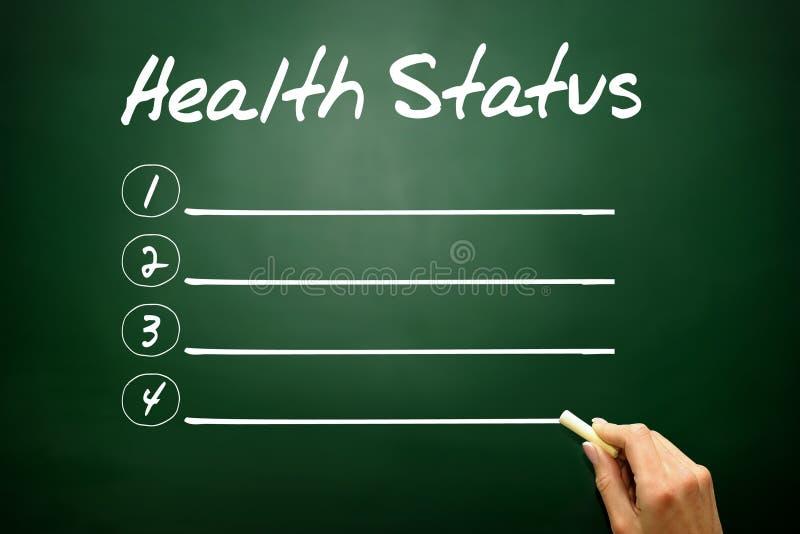 Вручите вычерченный список пробела состояния здоровья, концепцию дела на blackbo стоковое изображение rf