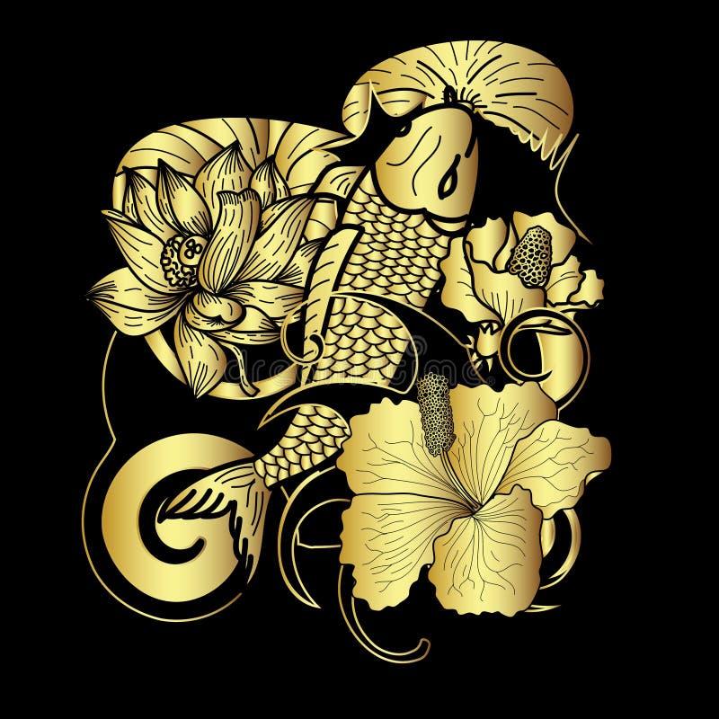 Вручите вычерченный стиль татуировки японца рыб и цветка Koi золота на черной предпосылке бесплатная иллюстрация