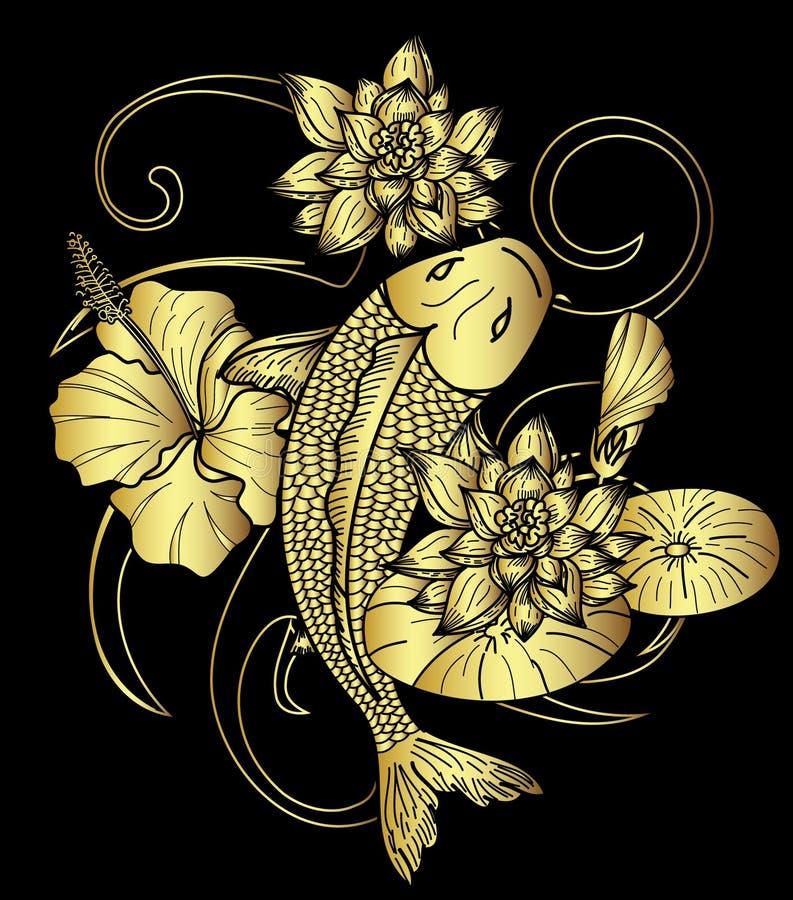 Вручите вычерченный стиль татуировки японца рыб и цветка Koi золота на черной предпосылке иллюстрация вектора