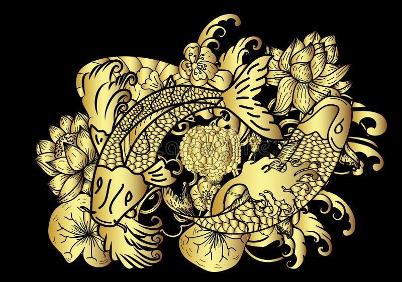 Вручите вычерченный стиль татуировки японца рыб и цветка Koi золота на черной предпосылке иллюстрация штока