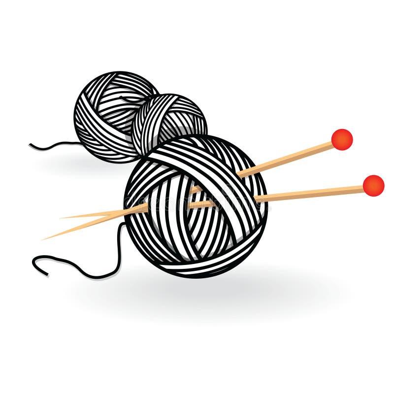 Вручите вычерченный шарик пряжи эскиза с иглами для вязать Иллюстрация вектора черно-белая винтажная иллюстрация штока