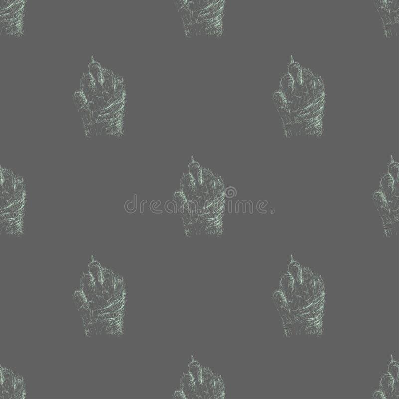 Вручите вычерченный эскиз картины лапки кота безшовной Зверский кот Трахайте вас логотип Лапка кота показывая средний палец смешн иллюстрация штока