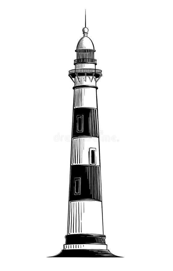 Вручите вычерченный эскиз маяка в черноте изолированного на белой предпосылке Детальный винтажный чертеж стиля вектор иллюстрация штока