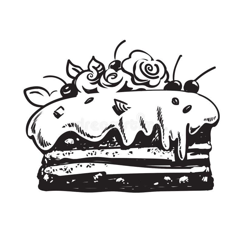 Вручите вычерченный эскиз торта украшенный с розами и вишнями марципана вектор иллюстрация вектора