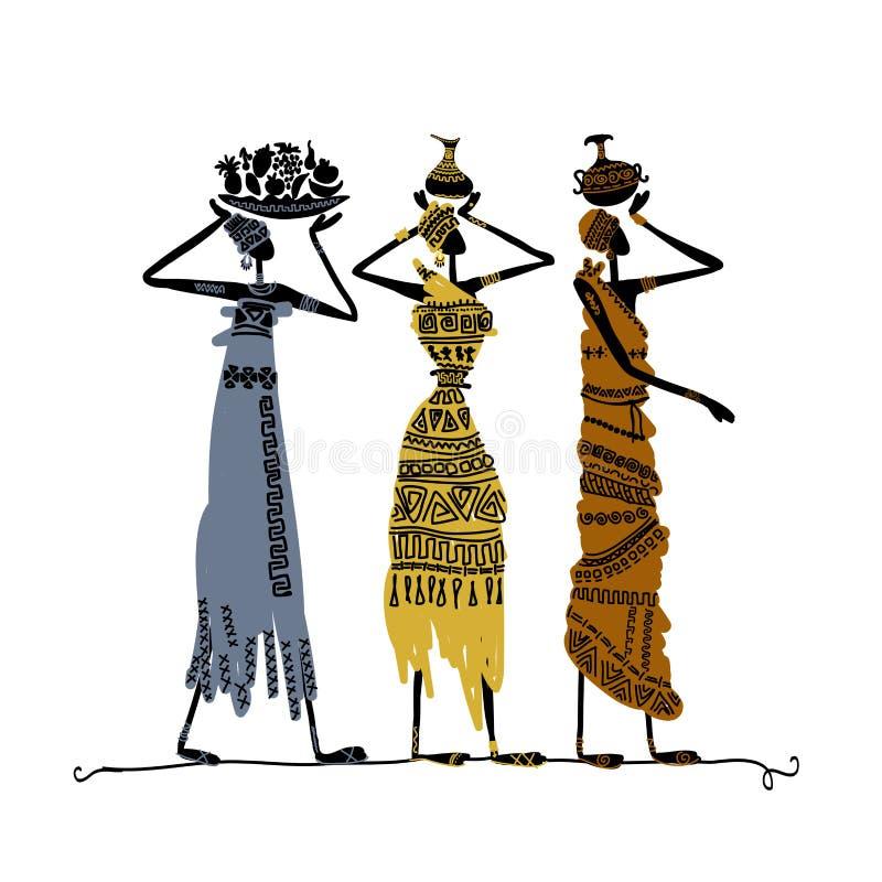 Вручите вычерченный эскиз этнических женщин с кувшинами иллюстрация штока