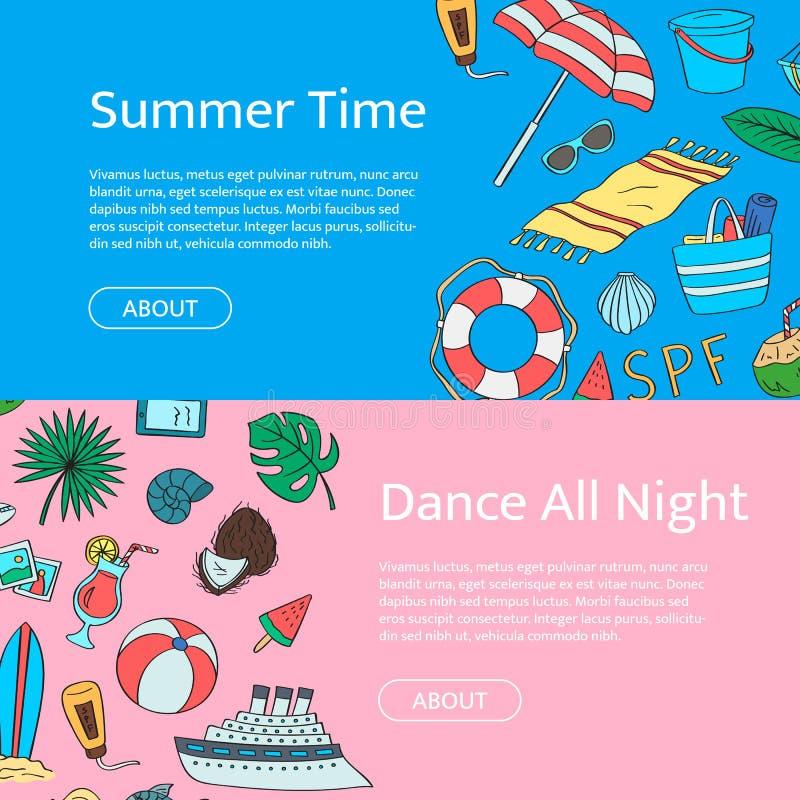 Вручите вычерченным покрашенным объектам пляжа горизонтальные знамена сети Иллюстрация элементов doodle перемещения лета вектора  бесплатная иллюстрация
