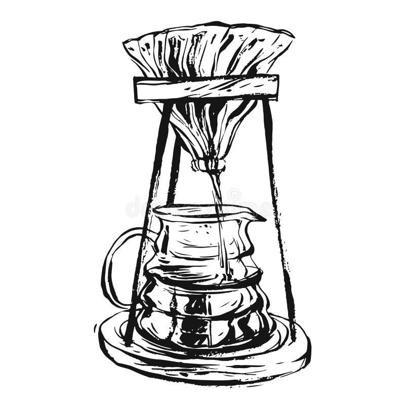 Вручите вычерченным чернилам вектора иллюстрацию графической винтажной машины кофеварки выровнянную изолированную на белой предпо бесплатная иллюстрация