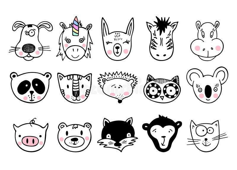 Вручите вычерченных животных, комплекта милого doodle стоковые фотографии rf