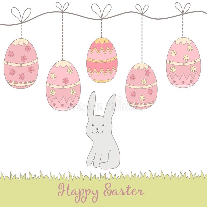 Вручите вычерченных симпатичных кролика и яичек - счастливой карточки концепции пасхи, сделанной внутри иллюстрация штока