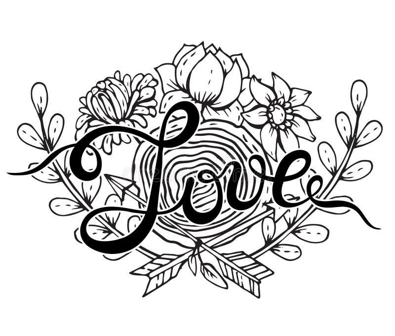 Вручите влюбленность слова литерности с венком нарисованным рукой флористическим иллюстрация вектора