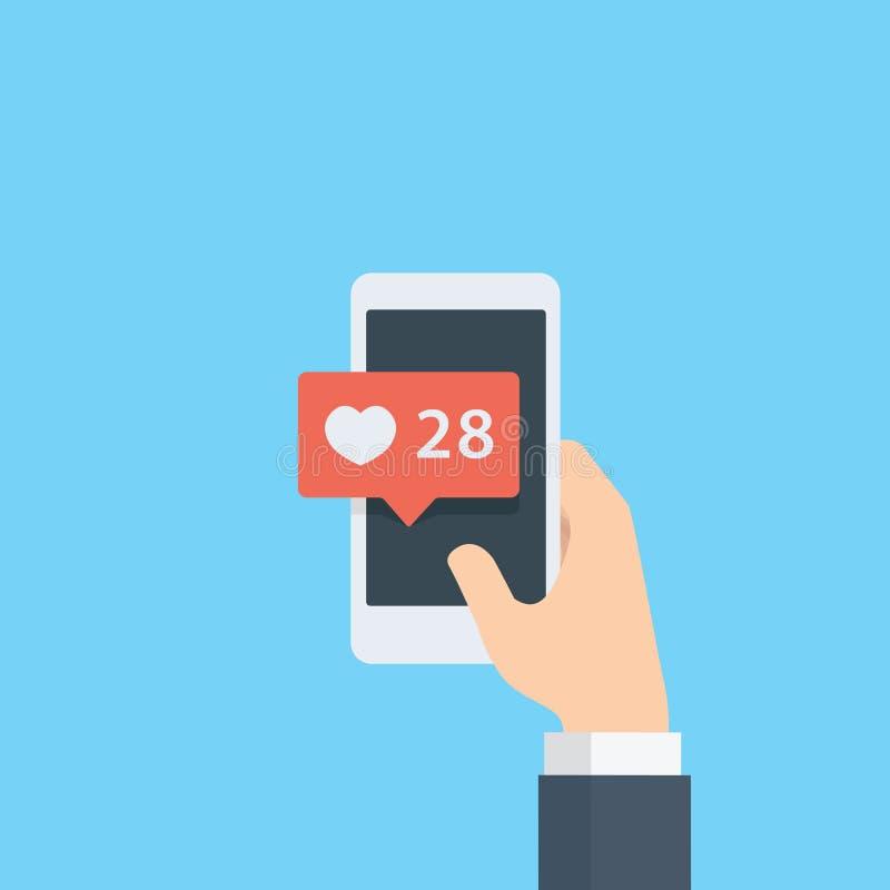 Вручите давать как оценка на социальных средствах массовой информации с smartphone, указывающ уведомление руки и пузыря влюбленно бесплатная иллюстрация