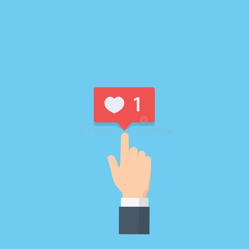 Вручите давать оценку влюбленности на социальных средствах массовой информации, указывающ уведомление руки и пузыря влюбленности, бесплатная иллюстрация