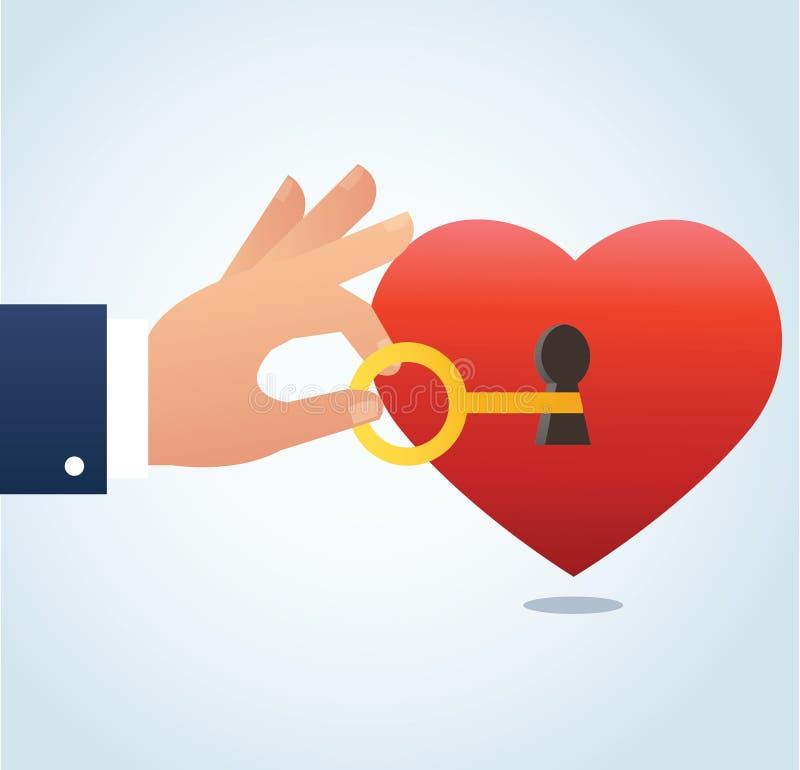 Вручите держать большой ключ с keyhole на красной иллюстрации вектора сердца бесплатная иллюстрация