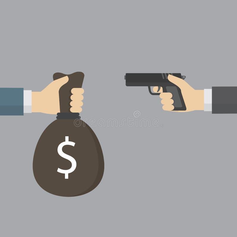 Вручите держать личное огнестрельное оружие для разбойничества и другой сумки денег руки предлагая Концепция разбойничества иллюстрация штока