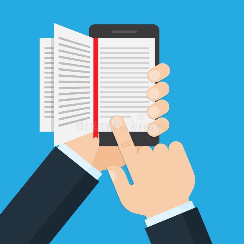 Вручите держать мобильный телефон с открытой книгой на экране бесплатная иллюстрация