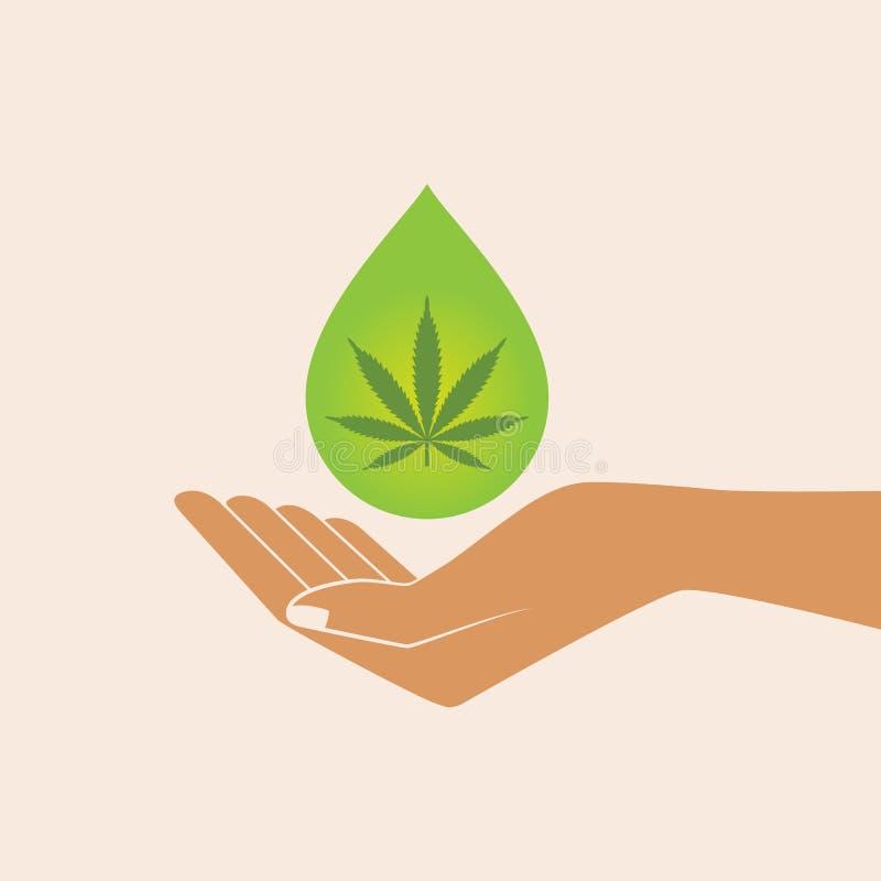 Вручите держать падение масла с лист марихуаны иллюстрация штока