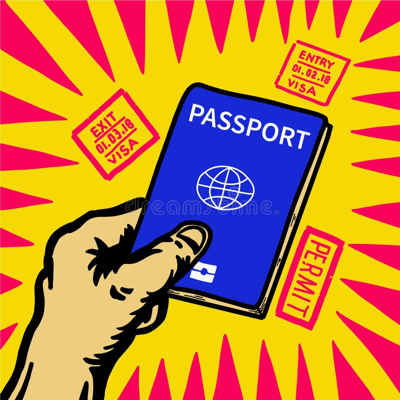Вручите держать пасспорт и штемпель входа визы вокруг иллюстрация вектора