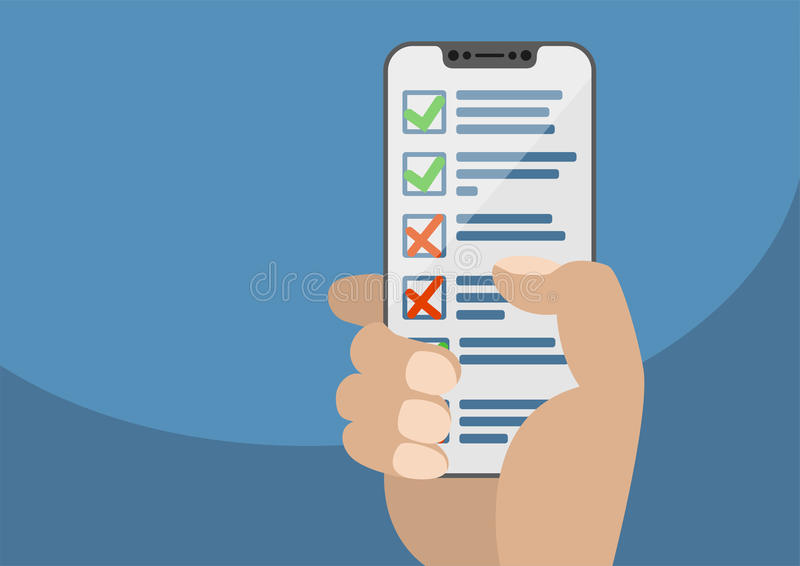 Вручите держать современный шатон свободный smartphone при показанные контрольный списоок или список задач иллюстрация вектора