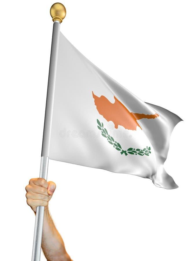 Вручите держать флаг Кипра изолировал на белой предпосылке, переводе 3D бесплатная иллюстрация