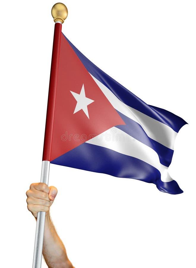 Вручите держать флаг Кубы изолировал на белой предпосылке, переводе 3D иллюстрация вектора