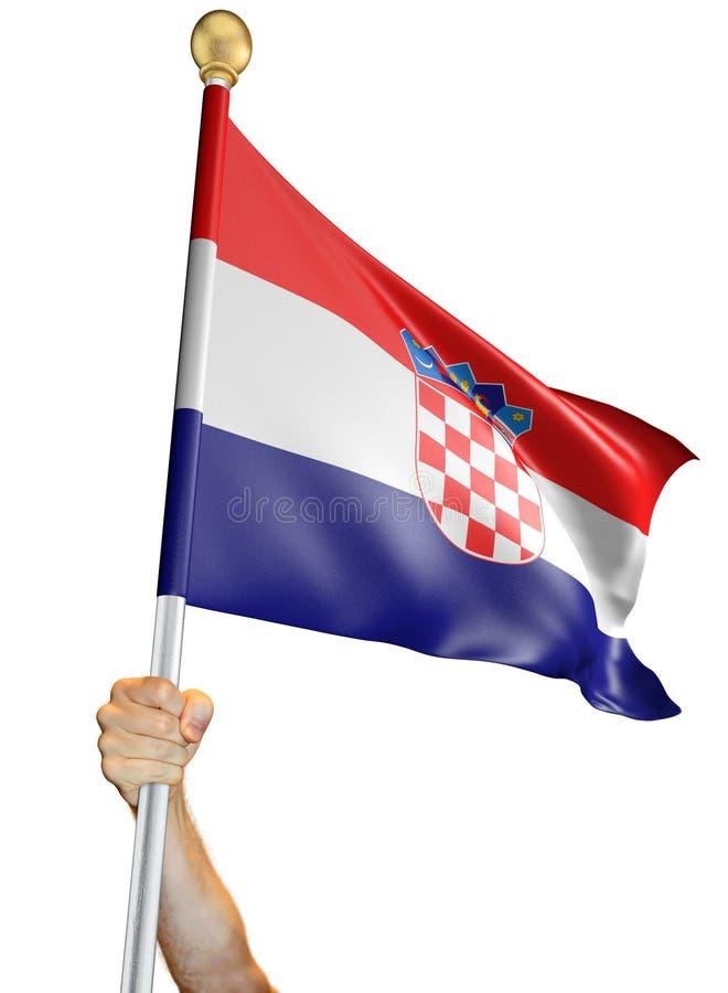 Вручите держать флаг Хорватии изолировал на белой предпосылке, переводе 3D иллюстрация вектора