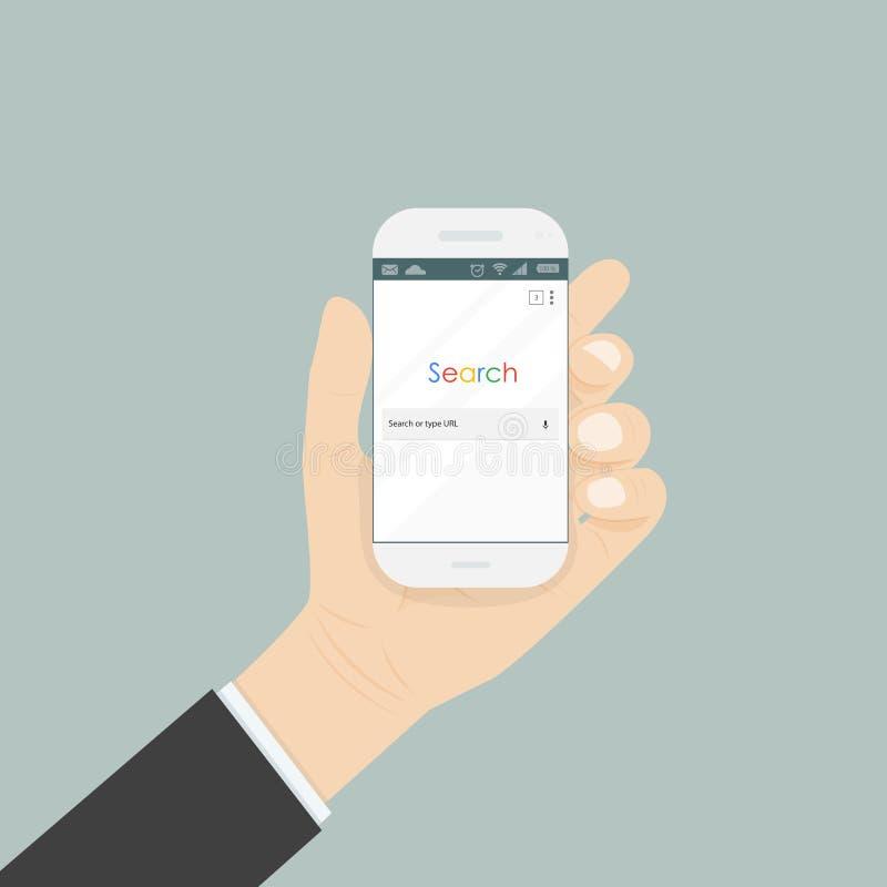 Вручите держать smartphone и окно браузера поиска на экране бесплатная иллюстрация