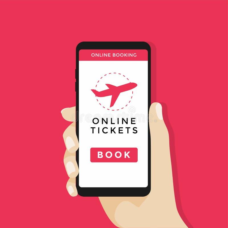 Вручите держать smartphone с значком кнопки и самолета книги на экране Идея проекта онлайн билетов иллюстрация штока