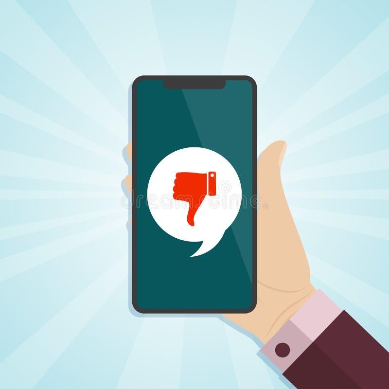 Вручите держать smartphone с значком нелюбов на экране бесплатная иллюстрация