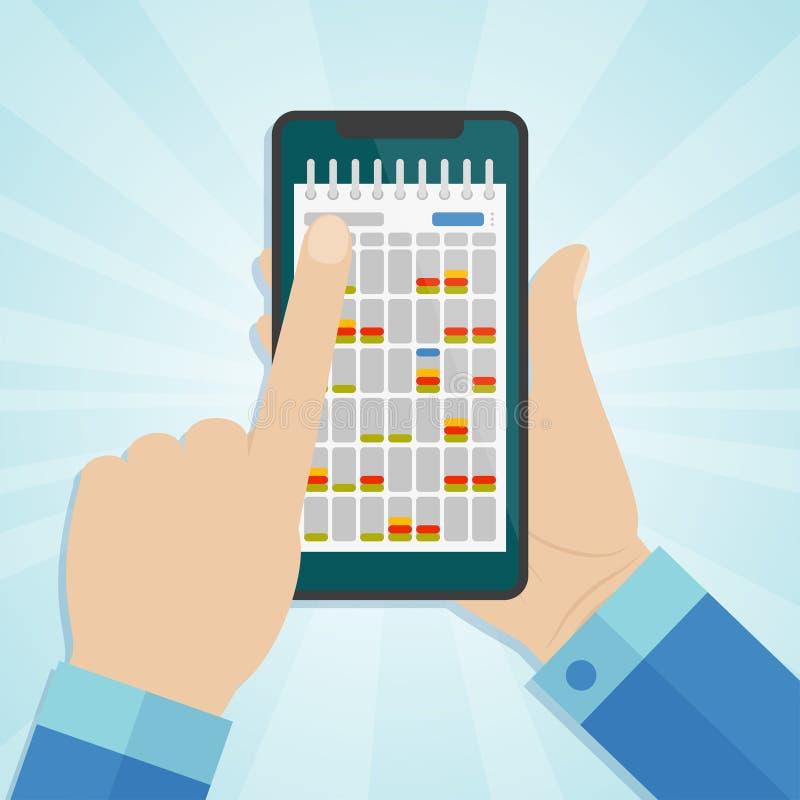 Вручите держать smartphone с календарем на экране бесплатная иллюстрация