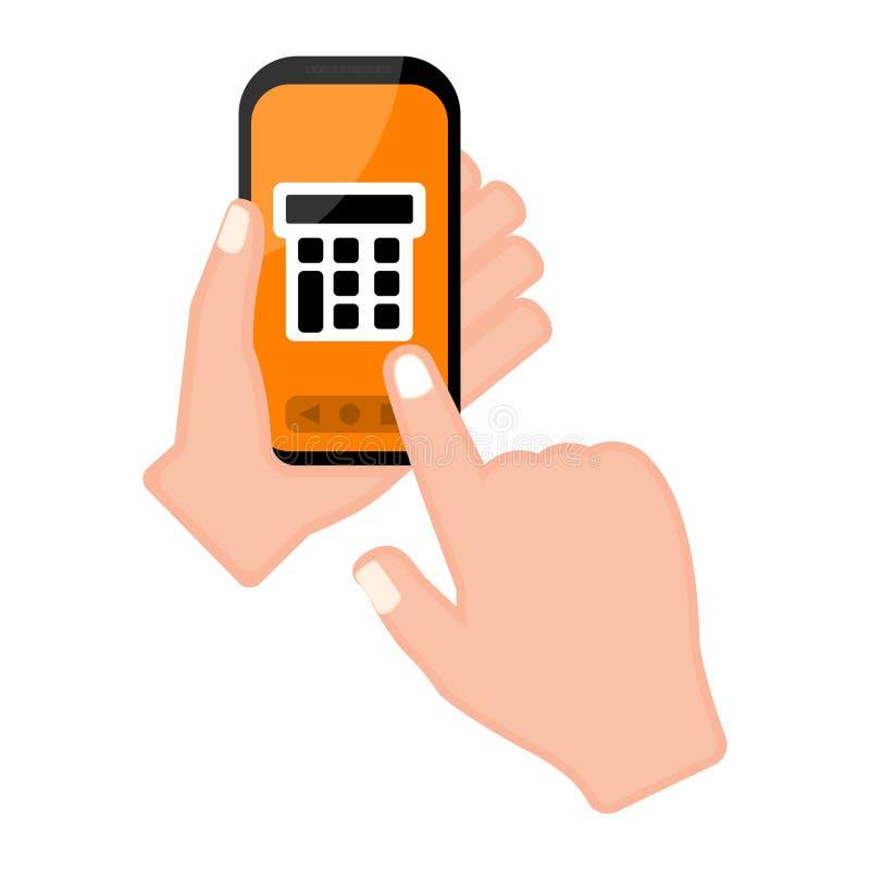 Вручите держать smartphone с калькулятором app иллюстрация штока