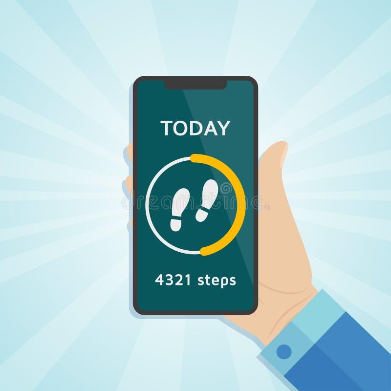 Вручите держать smartphone с, который побежали счетчиком спорта шагов отслежывателя, хода или прогулки на экране иллюстрация вектора