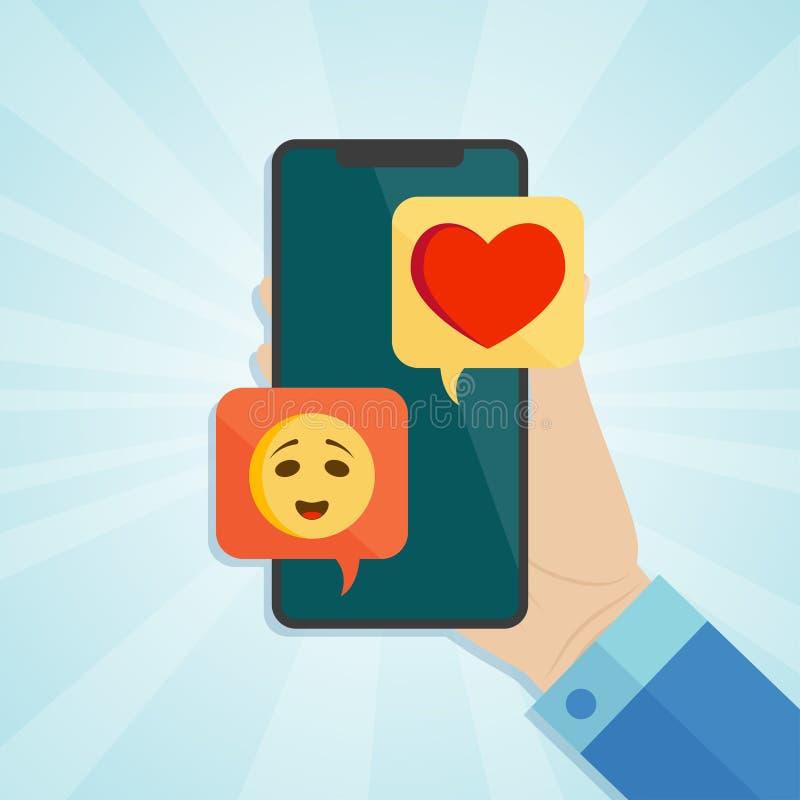 Вручите держать smartphone с нежными значками эмоции и сердца на экране иллюстрация вектора