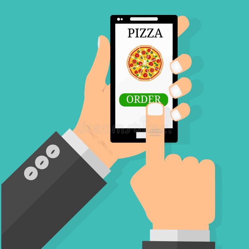 Вручите держать smartphone с пиццей на экране Концепция фаст-фуда заказа Плоская иллюстрация вектора бесплатная иллюстрация