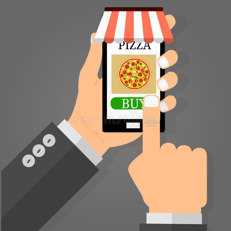 Вручите держать smartphone с пиццей на экране Концепция фаст-фуда заказа Плоская иллюстрация вектора иллюстрация штока