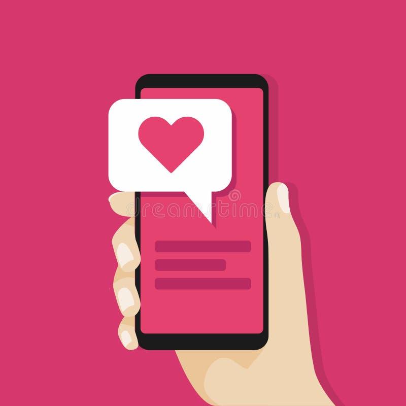 Вручите держать smartphone с сообщением влюбленности на экране принципиальная схема цифрово произвела высокий social res сети изо бесплатная иллюстрация