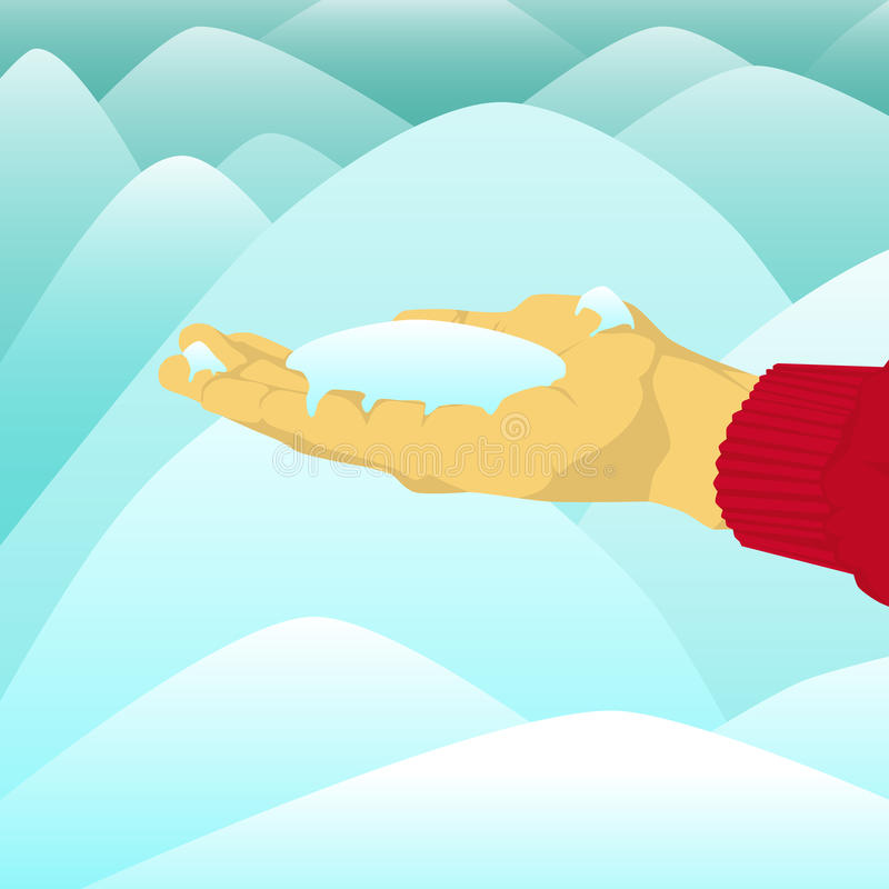 Вручите держать кучу снега перед снегом иллюстрация штока