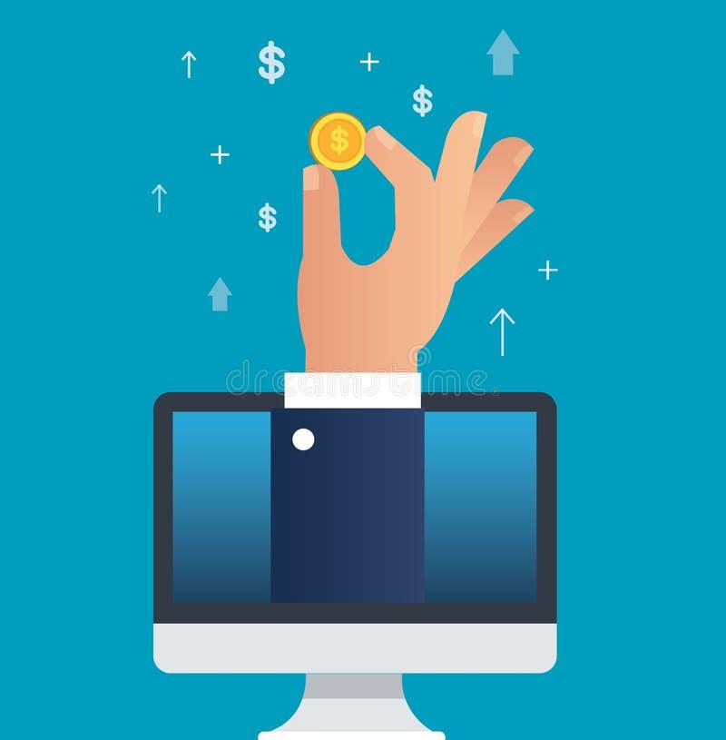 Вручите держать монетку доллара через иллюстрацию вектора компьютера, концепцию дела иллюстрация штока