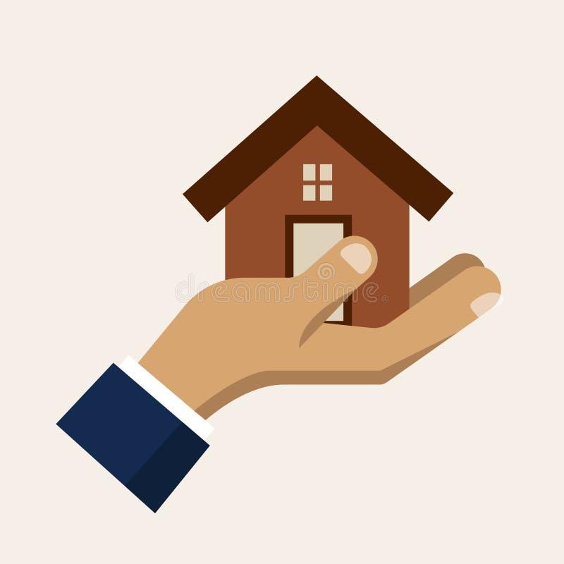 Вручите держать дом, значок вектора обслуживания страхования бесплатная иллюстрация