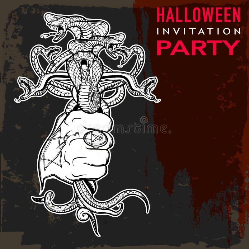 Вручите держать пук карточки года сбора винограда хеллоуина змеек иллюстрация вектора