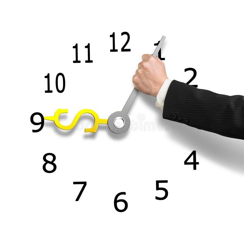 Вручите держать руки часов с знаком денег, иллюстрацией 3D иллюстрация штока