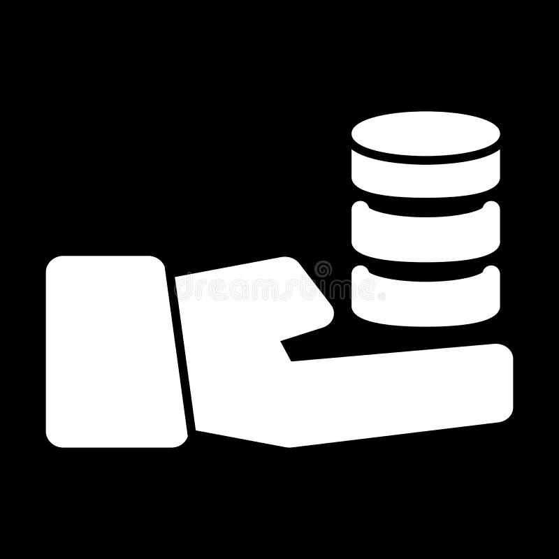 Вручите держать стог значка вектора монеток Черно-белая иллюстрация монетки Твердый линейный значок денег бесплатная иллюстрация
